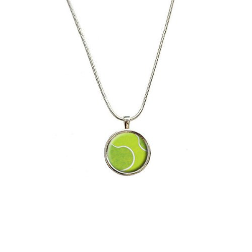 Preisvergleich Produktbild Tennis Ball Sporting Goods Sportsball Anhänger mit Sterling Silber vergoldet Kette