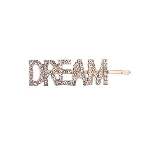 VIccoo Minimalistischen Großbuchstaben Traum Hoffnung Liebe Metalllegierung Haarnadel Frauen Mädchen Imitation Perle Strass Schmuck Haarspange Haarspange - A#
