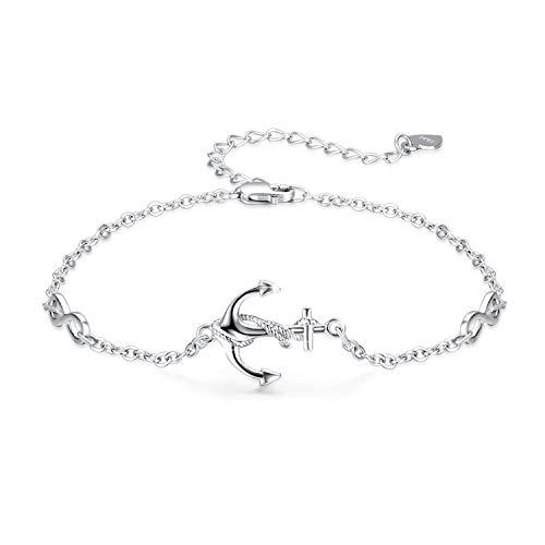 Standard Silber Anker Armreif verstellbar Ein wenig Armreif der Göttin tolles Geschenk für Frauen Mädchen mit Geschenkbox(Anker-3)