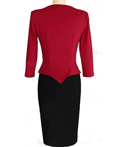 Femme Robe de Soirée Courte Moulante Robe Crayon Bureau Bodycon Rouge Noir