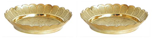DollsofIndia 2 Brass Puja Thali - Thali Dia - 2.5 inches Each