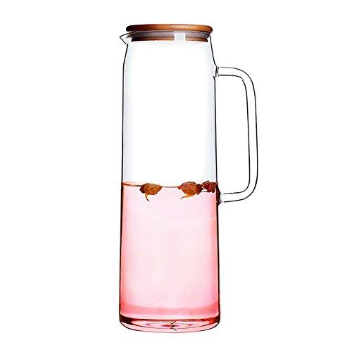1500ML Glas-Teekanne mit Bambus Deckel,Wasser-Krug Ideal für Obst-Tee-Container,Essentials der Küche,Kann auf dem Herd erhitzt werden (Glas Und Bambus-tee - / Wasserkocher)