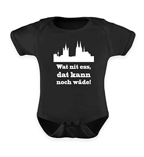 Köln/Kölsch: Wat nit ESS, dat kann noch wäde! - FC - Geschenk Karneval - Ruud un Wieß - Baby Body -12-18 Monate-Schwarz