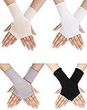 Bememo 4 Paar UV Schutz Handschuhe Handgelenk Länge Sonnen Block Fahren Handschuhe Unisex Fingerlose Handschuhe