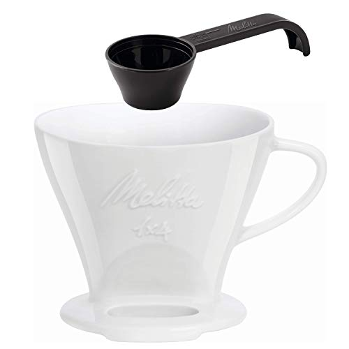 Melitta 219025 Filter Porzellan Kaffeefilter Größe 1x4 Weiß & Kaffeedosierlöffel mit Mengenmarkierungen, Für 8, 10 oder 12 g, Kunststoff, Schwarz, 217618