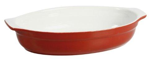 Crealys 512720 Plat à Four Ovale avec Anses Céramique Framboise 30 x 17,5 x 5,5 cm