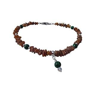 Dog Amber Necklace Chain Swari & Malachite 47cm 00527.2dk Amberdog