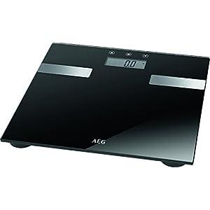 AEG PW 5644 FA – Báscula de análisis corporal de 7 funciones, de cristal y acero inoxidable,LCD, Negro