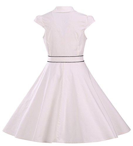 Eyekepper Robe coctail Robe courte Femme / demoiselle - robes style annee 50 - elegante vintage dance party Blanc