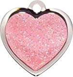 Fashion Dog Tags ENGRAVED for Pets | Pink Sparkle Heart Pet ID Tag (Small) | DEEP ENGRAVING by BowWowMeow | Personalised Pet Identity Name Tags, Deeply Etched & Customisable
