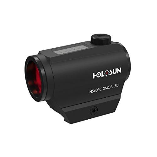 Holosun HS403C Microdot Rotpunkt Visier mit 2MOA Punkt Absehen und Solarzelle, schwarz, Picatinny/Weaver Schiene, für die Jagd, Sportschießen und Softair, Tactical Micro red dot Sight - 70127386