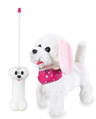 Jamara 460341 Laufender Hund mit Sound Plüsch, Fernsteuerung  Weiss/Rosa
