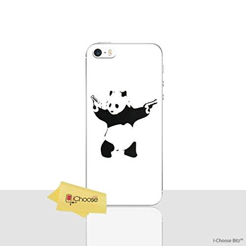 iPhone 5/5s Banksy Silikonhülle / Gel Hülle für Apple iPhone 5s 5 SE / Schirm-Schutz und Tuch / iCHOOSE / Panda (Iphone 5s Fall Lachen)