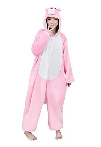 Kostüm Rosa Erwachsene Smoking Und Für - URVIP Neu Unisex Adult Pyjama Cosplay Tier Onesie Body Nachtwäsche Kleid Overall Animal Sleepwear Schlafanzug mit Kapuze Erwachsene Cosplay Kostüm Rosa-Leopard S