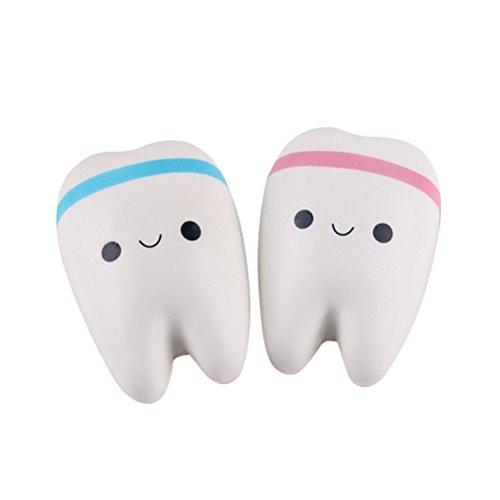 NUOLUX 2 Stück Squeeze Kawaii Zähne Stress Relief (Schlechte Zähne Lustige)