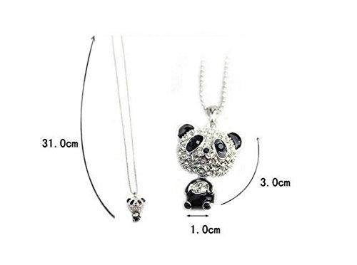 Rifornimenti di vita quotidiana collana di strass, collana di gioielli con pendente a forma di panda incantevole per regalo, argento e nero