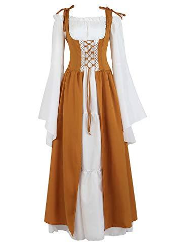 aizen Mittelalter Kleid Renaissance Damen mit Trompetenärmel Party Kostüm bodenlang Vintage Retro Costume Cosplay Gelb S