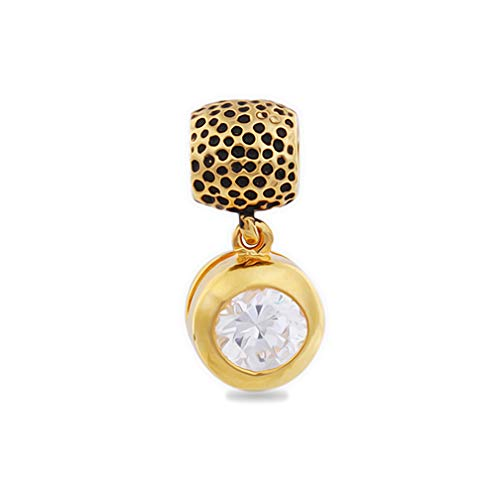 AKKi jewelry Charms Beads Charm Anhänger Perlen für Armband Kette Starter Angebot,Edelstahl Zirkonia Silber Karma-Beads, Pandora Style kompatibel 925
