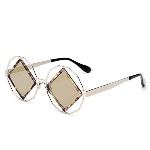 Yiph-Sunglass Sonnenbrillen Mode Doppelte Blumen-Rahmen-Persönlichkeit färbte Objektiv-UVschutz-Sonnenbrille für Frauen. (Farbe : Gold)
