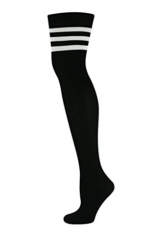 MySocks Unisex Overknee Socken Schwarz Drei Streifen