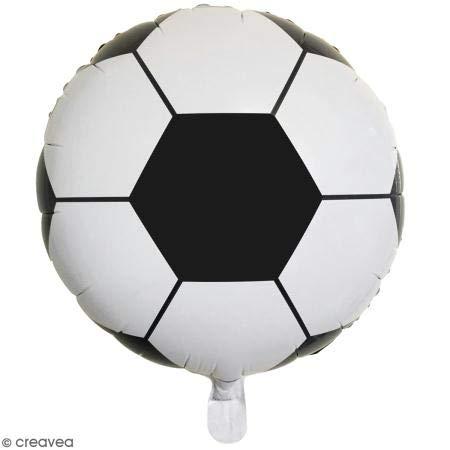 Rayher 87015000 Folienballon Fußball, 46cm ø, schwarz-weiß, zum Befüllen mit Luft oder Helium geeignet, XXL Partyballon für Kindergeburtstag und Co
