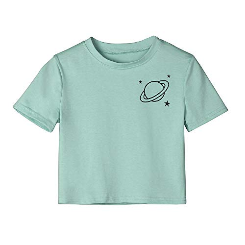 Linkay T Shirt Damen Kurzarm Bluse Planet Gestreift Tops Lässiger O-Neck Oberteile Mode 2019 (Grün, ()