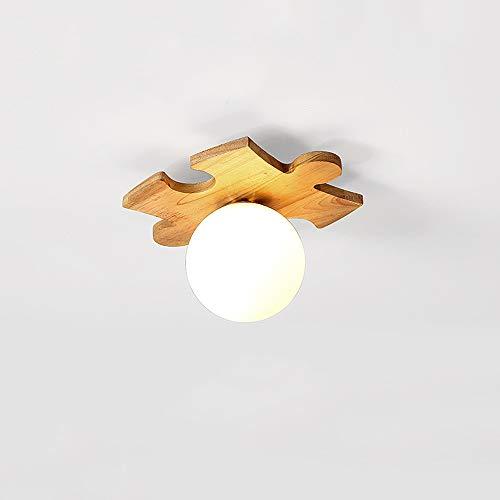Mogicry Japanisch-Stil Einfache E27 Holz Puzzle Kreis Deckenleuchte Holz Eisen Acryl Glas Kommerzielle Dekoration Umweltfreundliche Beleuchtung Haushaltsbeleuchtung Lampe Deckenleuchte - Kreis Holz-puzzle