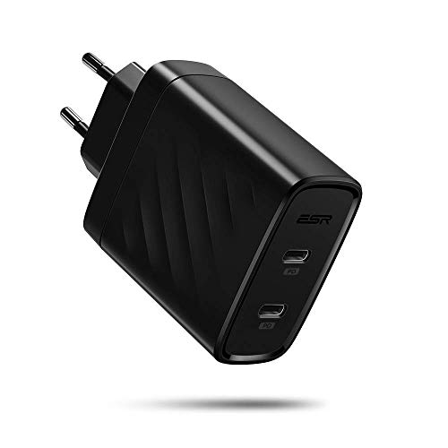 ESR 36W Dual Port Power Delivery,USB-C Ladegerät kompatibel mit iPhone XS/XS Max/XR/X/8/8+,Samsung S10/S10+/S10e/S9/S9+/S8/S8+,Huawei P30/P30 Pro,iPad Pro 11/12.9,iPad Mini/iPad Air 2019 und mehr. Dual-ladegerät