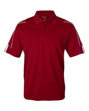 Adidas Golf Men's ClimaLite 3-Stripes Cuff Polo Sport Shirt. A76 - Medium - University Red / White (Wicking Polo-shirt Männer)