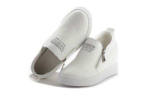 Damen Beiläufige Slip On Reißverschluss Bequeme Flache Schreiben Dekoration Sportliche Sneakers Weiß