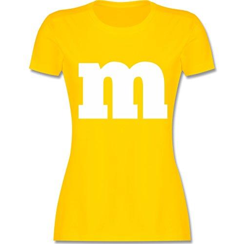 (Karneval & Fasching - Gruppen-Kostüm m Aufdruck - S - Gelb - L191 - Damen T-Shirt Rundhals)