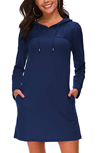 KorMei Damen Langarm Hoodie Bodycon Stretch Sweatshirt Mini Kleider mit 2 Taschen&Spitze Blau XL Stretch Hoodie Sweatshirt