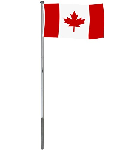 Brubaker Mât de drapeau en Aluminium - Hauteur 6 m - Drapeau Canada 150 x 90 cm inclus - Kit complet avec Fourreau de fixation