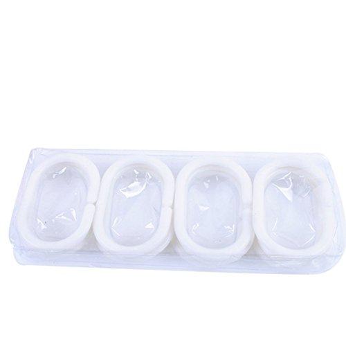 Dylandy Lot de 12 anneaux de rideau de douche en plastique en forme de C à suspendre dans votre salle de bain (Blanc)