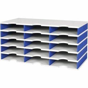 Styro Sortierstation styrodoc trio Grundeinheit 15 Fächer grau/blau