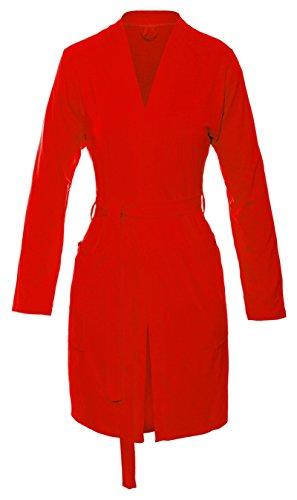 Dkaren-Nachtwäsche Damen Morgenmantel aus Viskose INES (XS – 2XL) Rot
