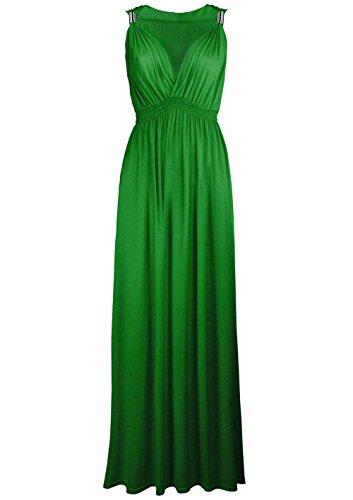 Sans manches pour femme Matière Stretch Uni ressort Maxi robe évasé en Jersey Vert - Vert