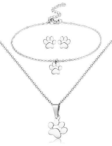 Adramata Paw Necklace Earrings Bracelet for Women Dog Paw Print Collar Colgante Stud Pendientes Charm Bracelet Juego de Jewellry para Perros de Acero Inoxidable