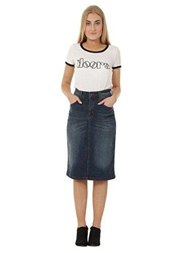 USKEES Denim Midi Skirt - Vintage Wash Classic Below-The-Knee Denim Skirt With Stretch Laura