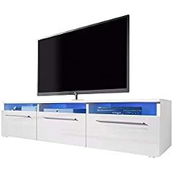 Selsey Lavello - Meuble TV/Banc TV (140 cm, Blanc Mat / blanc Brillant avec éclairage LED)