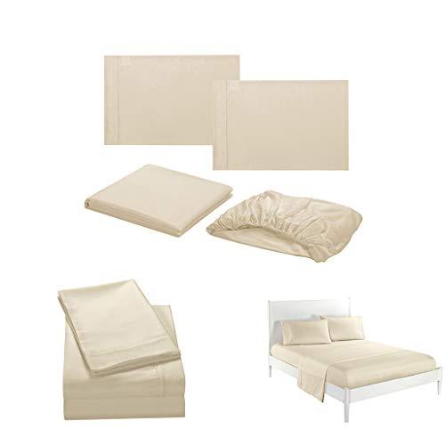 DOLDOA Haushalt Wohnen,Einfarbig einfache Serie Bettwäsche Bettwäsche Kissenbezug Vier Sätze (S, Beige) (Queens Kochen Geschirr)