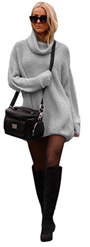 Damen Strickpullover Sweater Rollkragen Pullover Jumper Strick Pulli Oversize (648) (Grau)