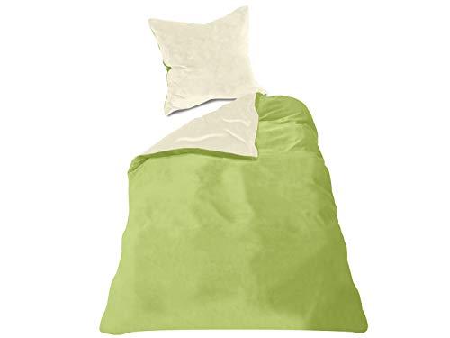 Wendebettwäscheset - Cashmere Touch - 100% Mikrofaser - inklusive Kissenbezug & Bettbezug in 6 Farbkombinationen, ca. 135 x 200 cm + 80 x 80 cm, Creme/grün Cashmere Kiwi