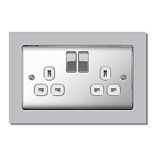 Light Grey Double Light Switch Surround Acrylic Finger Plate Panel Socket