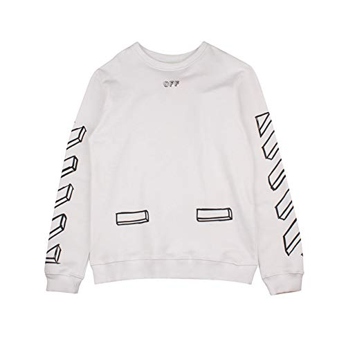 Off Sketch Round Neck Sweater Black and White Stereo Long Sleeve Sweater Men Women Casual Winter Boys Girls White Womens Sweatshirt
