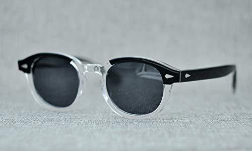 LKVNHP New Hohe Qualität Unisex Acetat Sonnenbrille Männer Frauen Polarisierte Kleine Johnny Depp Sonnenbrille Vintage Schwarz Retro SonnenbrilleSchwarz Klar