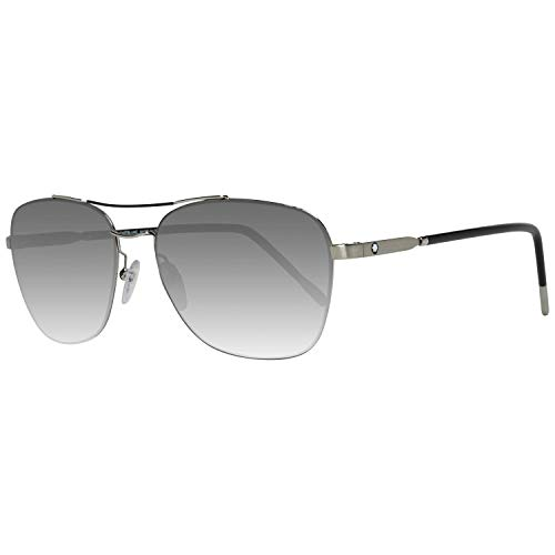Montblanc Unisex-Erwachsene MB696S 16B 56 Sonnenbrille, Silber (Palladio Luc/Fumo Grad),