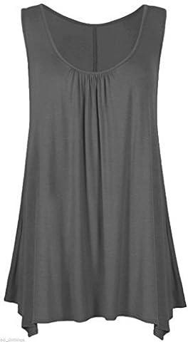 NEW GIRL Women Ladies Hanky Hem Plain Multicolour Flared Swing Skater Floral Sleeveless Scoop Neck Asymmetric Long Tunic Vest Tank Top Dress Shirt Plus Size 8 10 12 14 16 18 20 22 24 26 XL XXL