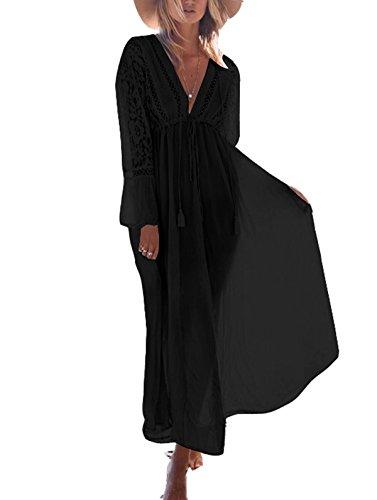 ASSKDAN Femme Bohême Dentelle Tassel Coton Cover up Bikini Robe de Plage Maxi-Longue Manche Longue (Noir, Taille Unique)