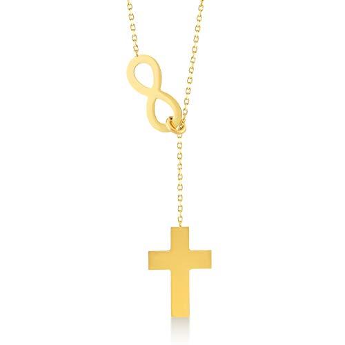 Gelin Damen Halskette aus 14 Karat - 585 Echt Gelbgold Kette mit hängende Kreuz und Unendlichkeit - Kette 45 cm